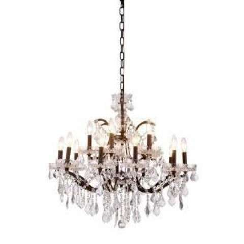 1138 Elena Collection Pendant Lamp D:30in H:28in Lt:15 Rustic Intent Finish Royal Cut Crystal (Clear)