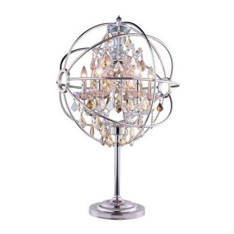 "1130 Geneva Collection Table Lamp D:22"" H:34"" Lt: Polished nickel Finish (Royal Cut Golden Teak  Crystals)"