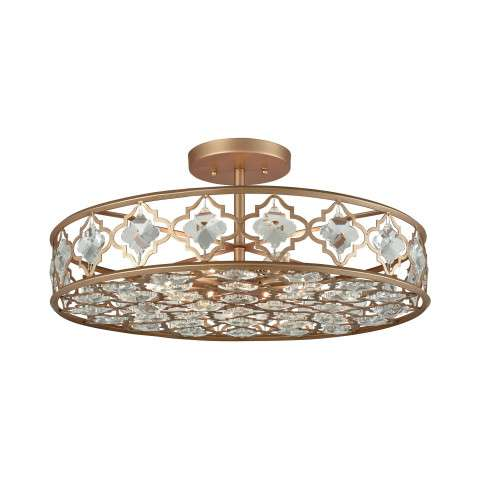 Armand 8 Light Semi Flush In Matte Gold With Clear Crystal