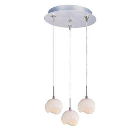 ET2 Contemporary Lighting E94606-10SN Minx 3-light Multi-Light Pendant in Satin Nickel finish with Opal White glass