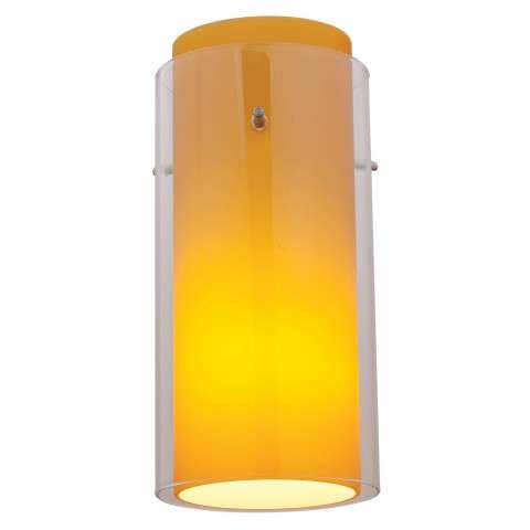 Access Lighting 23133-BS/CLAM Gn´G Glass Cylinder in Brushed Steel finish with Clear Outer / Amber Inner glass