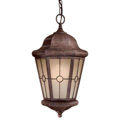 The Great Outdoors 1 Light Chain Hung In Vintage Rust™ Finish W/ Double French Scavo Glass