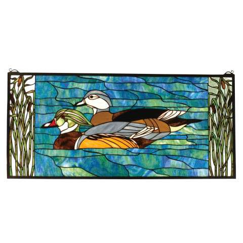 Meyda Tiffany 77712 Wood Ducks Stained Glass Window in Solid Brass finish