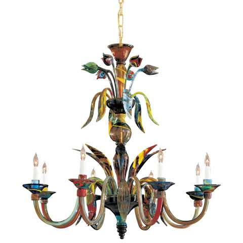 Metropolitan C7056/8 Eight Light Chandelier in Multicolor finish with Murano Glass
