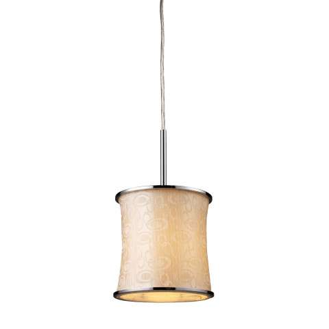 Elk Lighting 20024/1 Fabrique 1-Light Drum Pendant In Polished Chrome And Retro Beige Shade