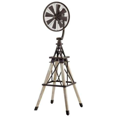Quorum Windmill Floor Fan model 39158-86 in Oiled Bronze with Weathered Oak Legs