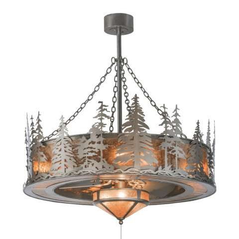 "Meyda 44"" Tall Pines Chandel-Air W/Fan Light in Nickel and Silver Mica w/Brushed Nickel fan"