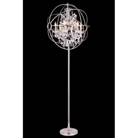 "1130 Geneva Collection Floor Lamp D:24"" H:71.5"" Lt:6 Polished nickel Finish (Royal Cut  Crystals)"