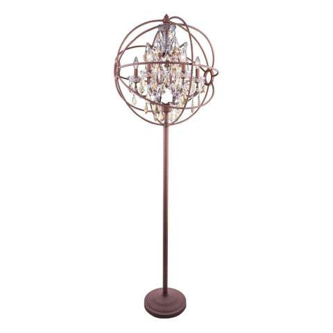 "1130 Geneva Collection Floor Lamp D:24"" H:71.5"" Lt:6 Rustic Intent Finish (Royal Cut Golden Teak  Crystals)"