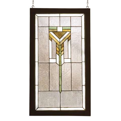Meyda Tiffany 98099 Prairie Wood Frame Stained Glass Window in Bark Brown finish with Clear Seedy Glass