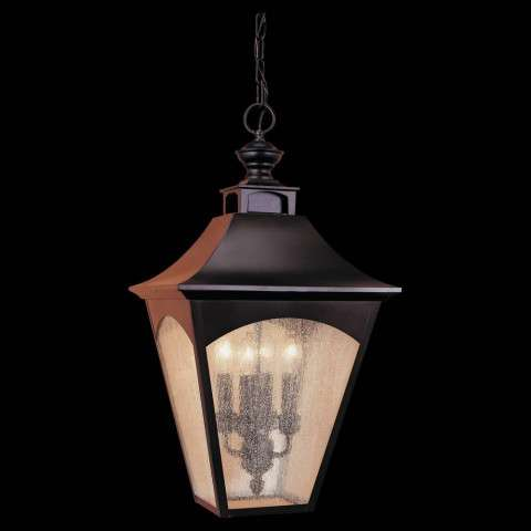 Murray Feiss OL1011ORB Homestead Hanging Lantern in Oil Rubbed Bronze finish with Thick Clear Seeded Glass