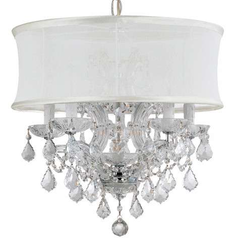 Crystorama 4415-CH-SMW-CLQ Polished Chrome Maria Theresa Chandelier Draped in Clear Swarovski Spectra Crystal and accented with a Smooth Antique White Silk Shade.