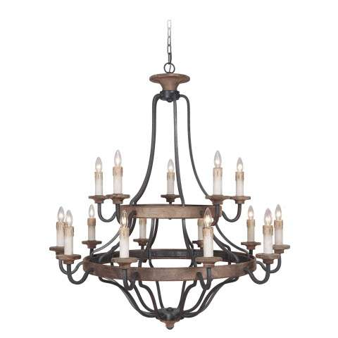 Jeremiah Indoor Lighting 15 Light Chandelier In Texture Blk/Whiskey Barrel