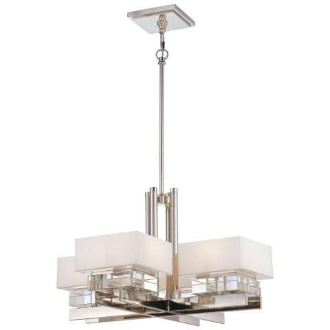 Metropolitan N6267-613 Eight Light Chandelier in Polished Nickel finish with Mitered Glass White Inside w/Eidolon Krystal™ Accents