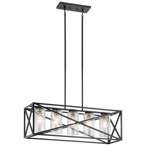Moorgate Lodge/Country/Rustic Linear Chandelier 5Lt In Black