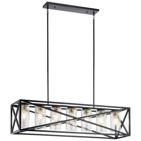Moorgate Lodge/Country/Rustic Linear Chandelier 7Lt In Black with gold accents
