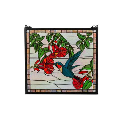 Meyda Tiffany 81540 Hummingbird Stained Glass Window in Solid Brass finish