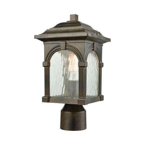 Stradelli 1 Light Outdoor Post Mount In Hazelnut Bronze With Clear Water Glass