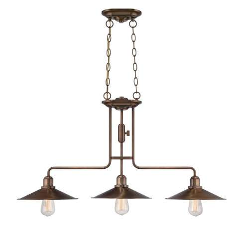 Newbury Station Island Pendant in Old Satin Brass with Metal Shade Shade(s)
