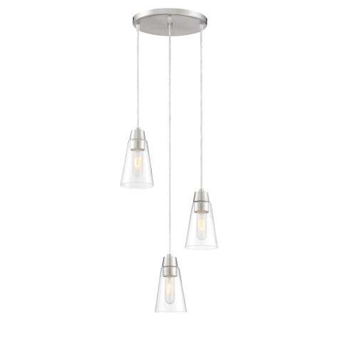 Echo 3 Light Mini Pendant in Satin Platinum