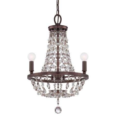 Channing Collection Mini Chandelier in Chocolate Bronze w/Hand Cut Crystal Beads.