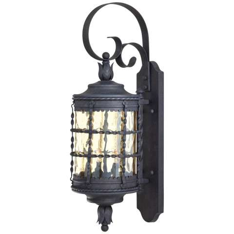 The Great Outdoors 2 Light Wall Mount In Spanish Iron™ Textured Black Powder Coat Finish W/ Champagne Hammered Glass