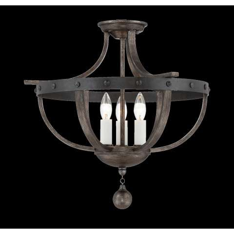 Alsace - 3 Light Semi Flush - Reclaimed Wood Finish