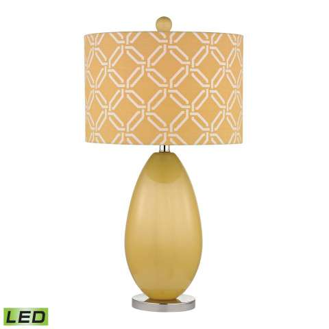 Sevenoakes LED Table Lamp In Sunshine Yellow With Yellow With White Pattern Print Shade