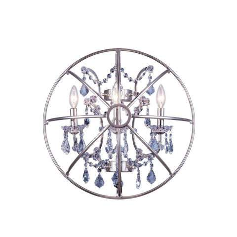 "1130 Geneva Collection Wall Lamp W:21"" H:21"" E10.5"" Lt: Polished nickel Finish (Royal Cut Silver Shade Crystals)"