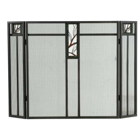 "Pine Branch Glass Folding Fireplace Screen - 48"" Wide x 33.5"" Tall"