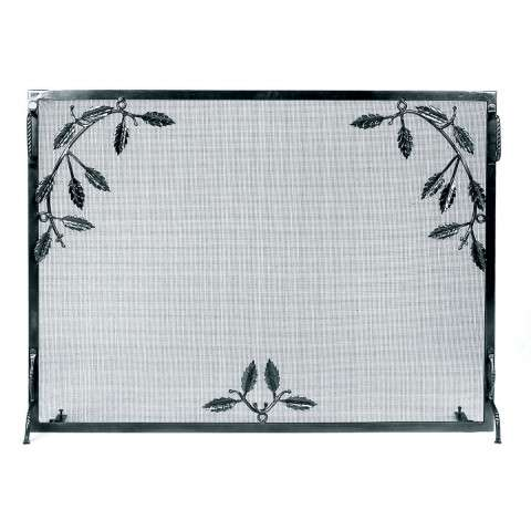 "Weston Fire Screen With Leaf Motif Iron - 38"" Wide x 30"" Tall"