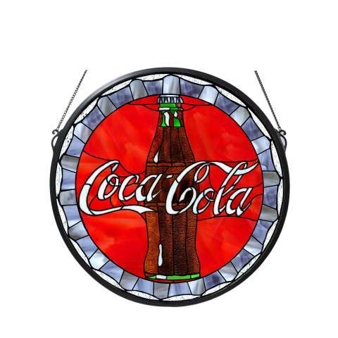 Meyda Tiffany 106225 Coca-Cola Bottle Cap Medallion Stained Glass Window
