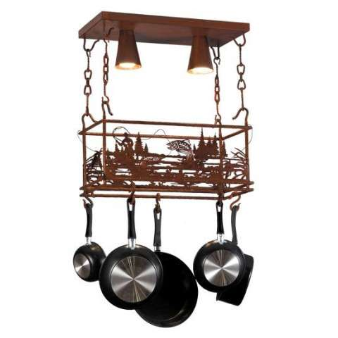 "24"" L Fisherman Pot Rack w/2 Downlights. Custom Crafted In Yorkville - New York Please Allow 30 Days"