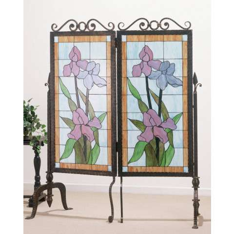 Meyda Tiffany 65253 Iris Glass & Metal 2 Panel Room Divider