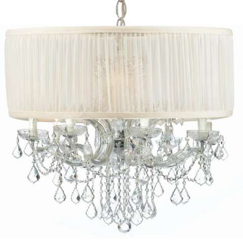 Crystorama 4489-CH-SAW-CLM Brentwood Chandelier Draped in Clear Hand Cut Crystal & Accented with an Antique White Shade