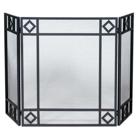 "3 Fold Black Wrought Iron Screen With Diamond Design - 52"" Wide x 30"" Tall"
