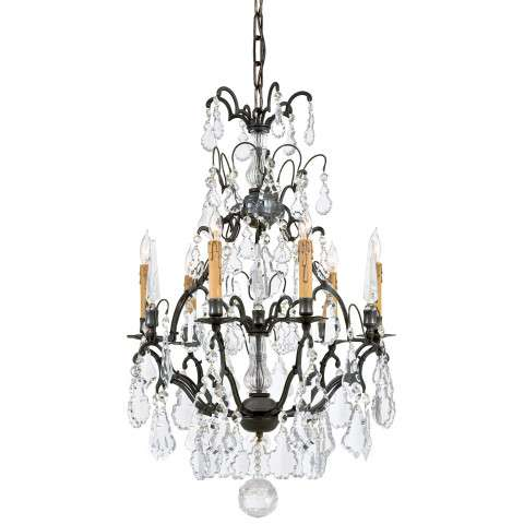 Metropolitan N561A-BZ Six Light Chandelier in Patina Bronze finish with Clear 24% Lead Glass Crystals