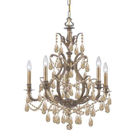 Dawson 5 Light Gold Teak Elements Crystal Brass Chandelier II