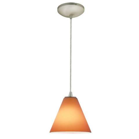 Access Lighting 28004-1C-BS/AMB Sydney Inari SilkOriental Glass Pendantin Brushed Steel finish