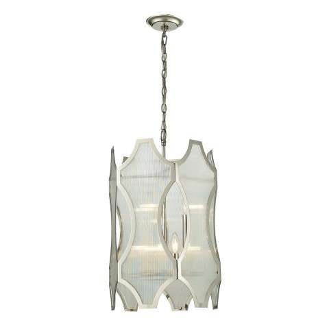 Benicia Collection 3+3 light pendant in Polished Nickel