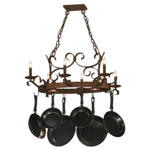 "36"" L Handforged Oval 6 Lt W/Downlights Pot Rack. Custom Crafted In Yorkville - New York Please Allow 30 Days"
