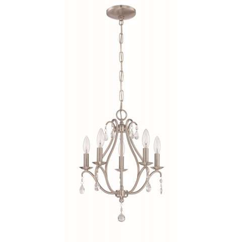 5 Light Mini Chandelier in Brushed Polished Nickel