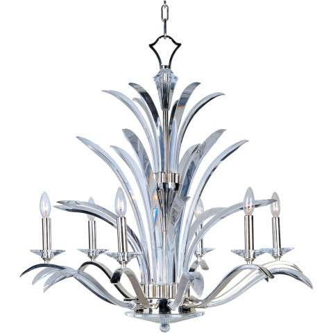 Maxim 39945BCPS Paradise 6-Light Chandelier in Plated Silver with Beveled Crystal glass.