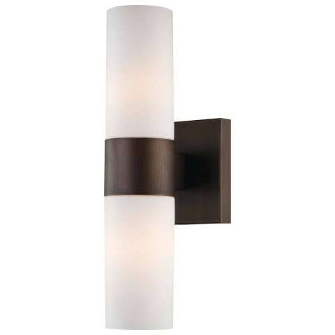 Minka Lavery 2 Light Wall Sconce In Copper Bronze Patina Finish W/Etched Opal Glass