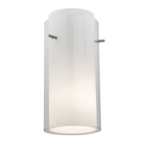 Access Lighting 23133-BS/CLOP Gn´G Glass Cylinder in Brushed Steel finish with Clear Outer / Opal Inner glass