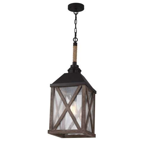 Lumiere´ 1 Bulb Dark Weathered Oak / Oil Rubbed Bronze Pendant Chandelier