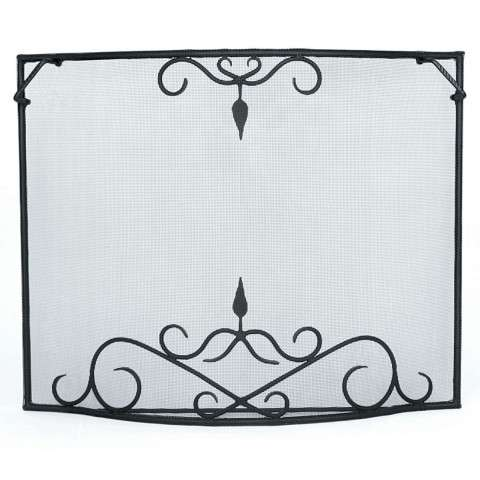 "Bostonian Curved Fire Screen With Scroll - 44"" Wide x 33"" Tall"