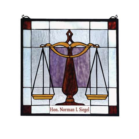 Meyda Tiffany 79886 Personalized Judicial Stained Glass Window in Solid Brass finish