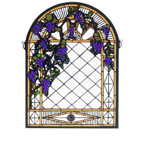 Meyda Tiffany 38327 Grape Diamond Trellis Stained Glass Window in Bark Brown finish