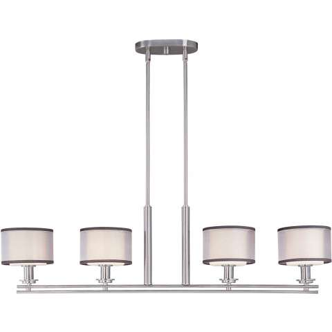 Maxim 23039SWSN Orion 4-Light Pendant in Satin Nickel with Satin White glass.